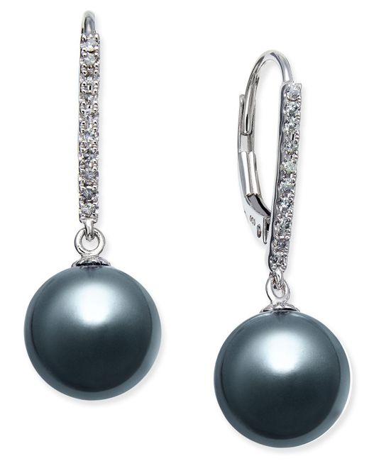 Macy's - Cultured Tahitian Pearl (9mm) And Diamond (1/10 Ct. T.w.) Drop Earrings In 14k White Gold - Lyst
