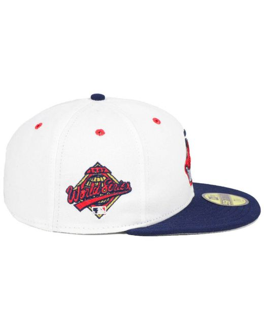buy online fcbe0 c9a5c ... KTZ - White Cleveland Indians Retro World Series Patch 59fifty Fitted  Cap for Men - Lyst ...