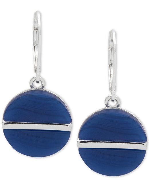 Nine West   Blue Silver-tone Colored Disc Drop Earrings   Lyst