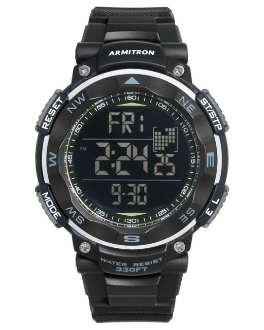 Armitron | Men's Digital Black Silicone Strap Watch 51mm 40-8254blk for Men | Lyst