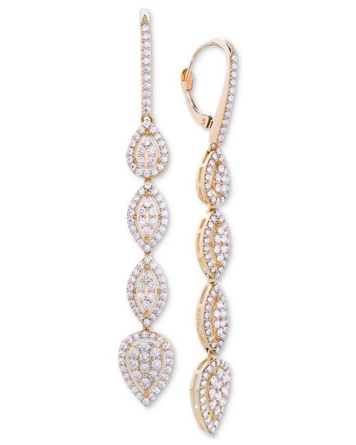 Macy's - Metallic Wrapped In Lovetm Diamond Teardrop Cluster Drop Earrings (2 Ct. T.w.) In 14k Gold, Created For - Lyst