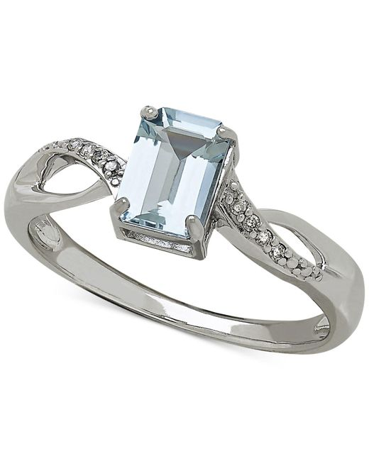 Macy's | Blue Aquamarine (9/10 Ct. T.w.) And Diamond Accent Ring In White 14k Gold | Lyst