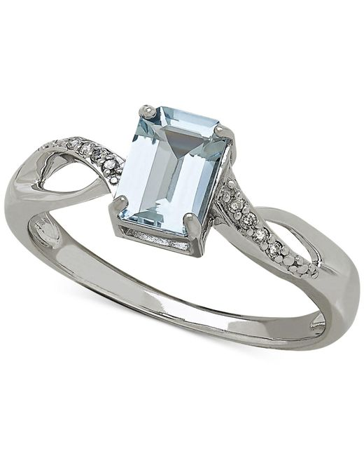 Macy's   Blue Aquamarine (9/10 Ct. T.w.) And Diamond Accent Ring In White 14k Gold   Lyst