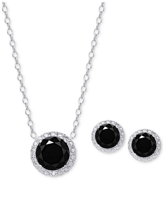 Macy's | Metallic Black Spinel Pendant Necklace And Matching Stud Earrings Set In Sterling Silver | Lyst