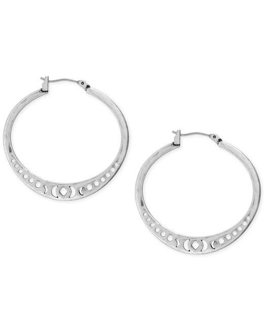 Lucky Brand   Metallic Silver-tone Openwork Hoop Earrings   Lyst