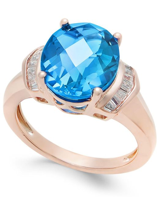 Macy's - London Blue Topaz (4-9/10 Ct. T.w.) And White Topaz (1/4 Ct. T.w.) Ring In 14k Rose Gold-plated Sterling Silver - Lyst