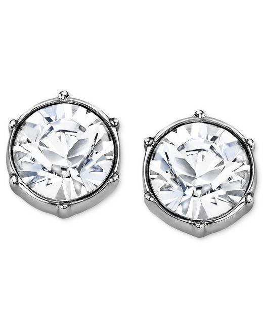 Swarovski | White Earrings, Rhodium-plated Crystal Round Stud Earrings | Lyst