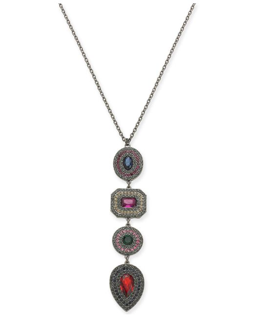 """INC International Concepts - Metallic I.n.c. Hematite-tone Multi-crystal Pendant Necklace, 30"""" + 3"""" Extender, Created For Macy's - Lyst"""