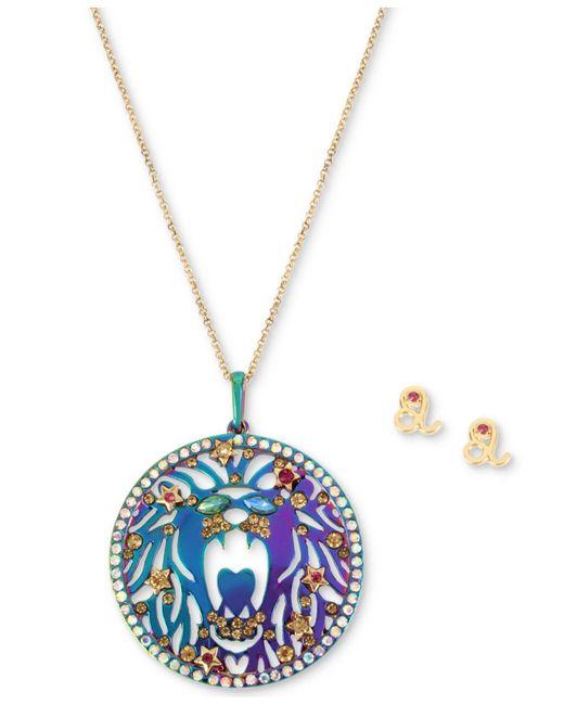 "Betsey Johnson - Multicolor Two-tone Multi-stone Leo Zodiac Pendant Necklace & Stud Earrings Set, 21-1/2"" + 3"" Extender - Lyst"