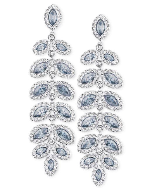 Swarovski - Blue Rhodium-plated Crystal Drop Earrings - Lyst