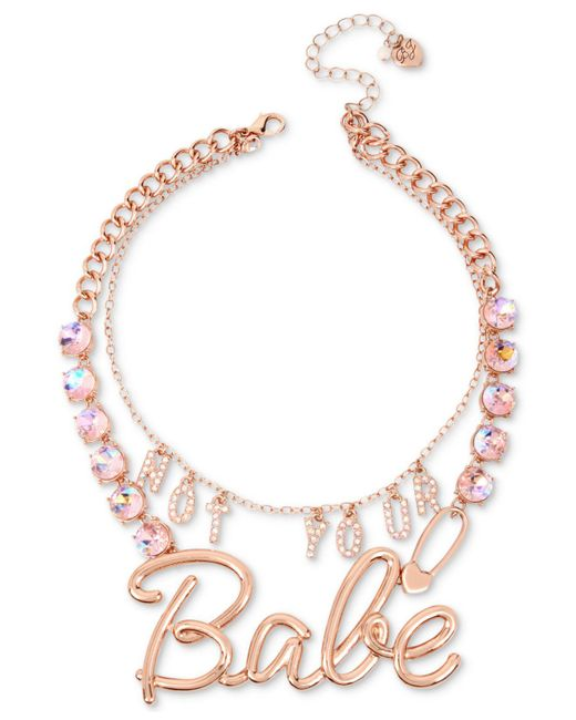 """Betsey Johnson   Pink Rose Gold-tone Crystal """"not Your Babe"""" Convertible Statement Necklace   Lyst"""