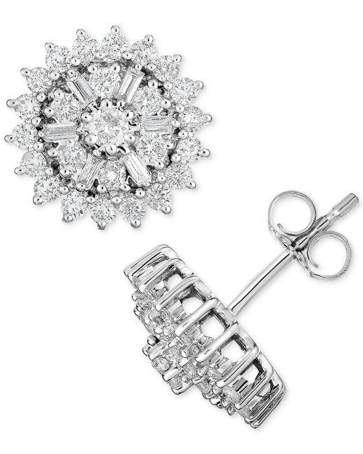 Macy's - Metallic Diamond Starburst Cluster Stud Earrings (1 Ct. T.w.) In 14k White Gold - Lyst