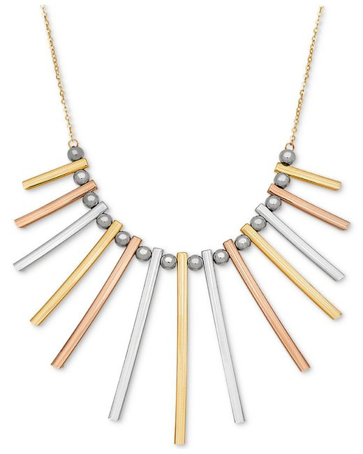 Macy's   Metallic Tri-color Bar And Bead Statement Necklace In 14k Gold, White Gold & Rose Gold   Lyst