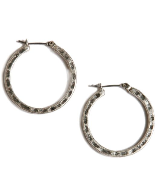 Lucky Brand | Metallic Earrings, Small Round Silver-tone Hoop | Lyst