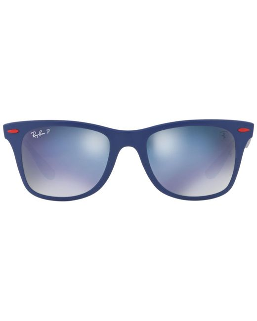 Ray-Ban Blue Polarized Polarized Sunglasses , Rb4195m Scuderia Ferrari Collection for men