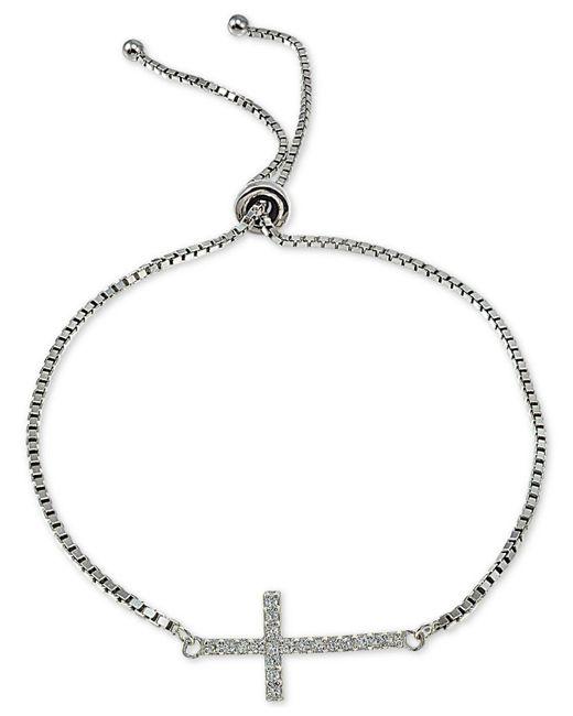 Giani Bernini - Metallic Cubic Zirconia East West Cross Slider Bracelet In Sterling Silver, Created For Macy's - Lyst