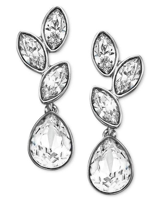 Swarovski | Metallic Earrings, Rhodium-plated Crystal Cluster Drop Earrings | Lyst