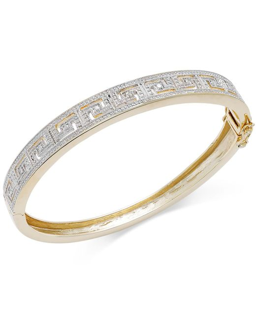 Macy's - Metallic Diamond Accent Greek Key Bangle Bracelet In 18k Gold Over Sterling Silver-plated Brass - Lyst
