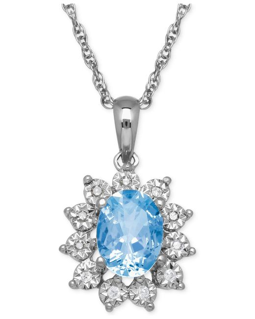 Macy's - Metallic Blue Topaz (1-3/8 Ct. T.w.) And Diamond Accent Pendant Necklace In 14k White Gold - Lyst