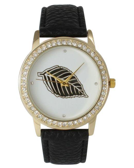 Olivia Pratt - Black Rhinestone Bezel And Leaf Leather Strap Watch - Lyst