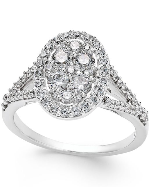 Macy's - Metallic Diamond Cluster Halo Engagement Ring (1 Ct. T.w.) In 14k White Gold - Lyst