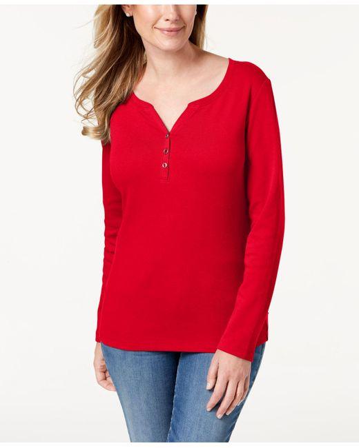 Karen Scott Red Petite Cotton Henley-neck Top, Created For Macy's