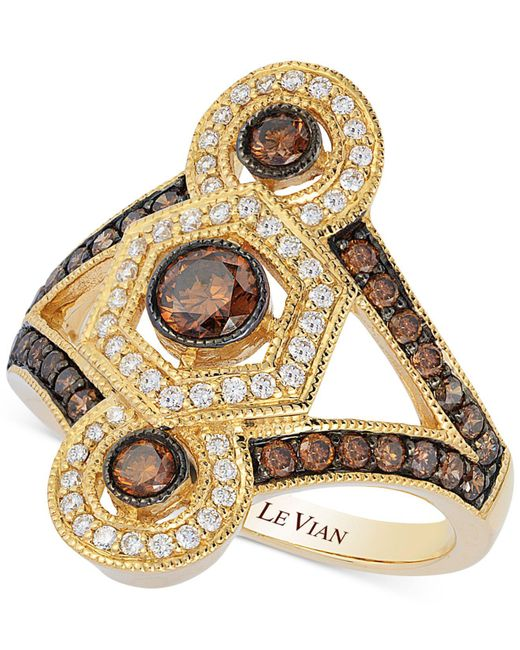 Le Vian   Metallic Chocolate And White Diamond Deco Ring (1 Ct. T.w.) In 14k Gold   Lyst