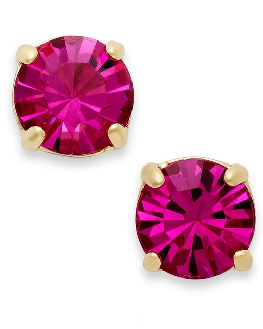 kate spade new york   Pink , 12k Gold-plated Crystal Round Stud Earrings   Lyst