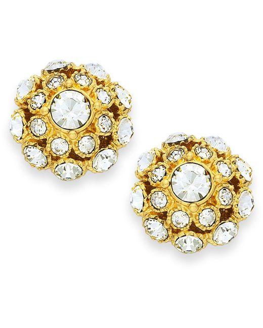 kate spade new york | Metallic Earrings, 12k Gold-plated Crystal Ball Stud Earrings | Lyst