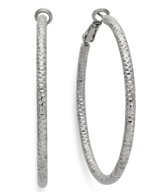 INC International Concepts | Metallic Silver-tone Small Textured Hoop Earrings | Lyst