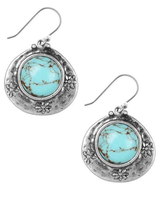 Lucky Brand   Metallic Earrings, Silver-tone Turquoise Drop Earrings   Lyst