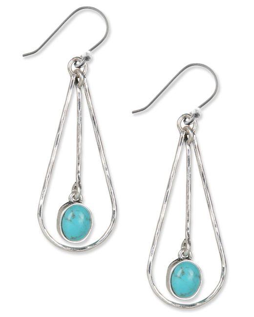 Lucky Brand   Metallic Earrings, Silver-tone Turquoise Drop Oblong Hoop Earrings   Lyst