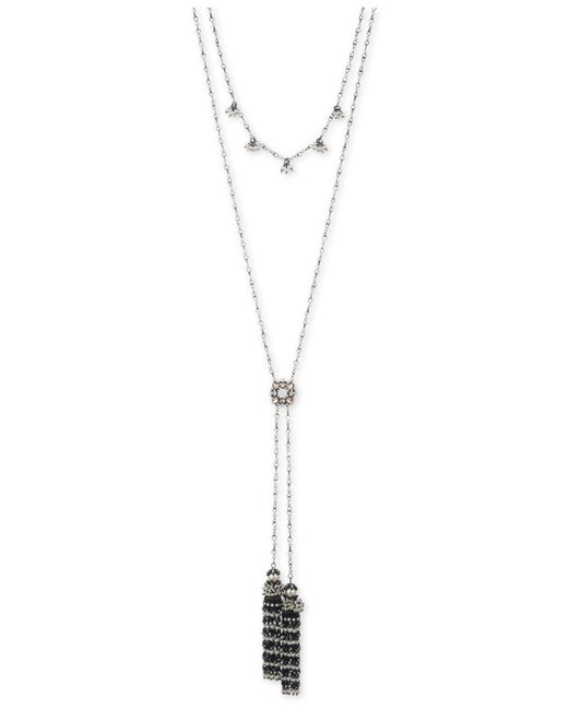 Marchesa - Black-tone Multi-stone & Imitation Pearl Double-layer Lariat Necklace - Lyst