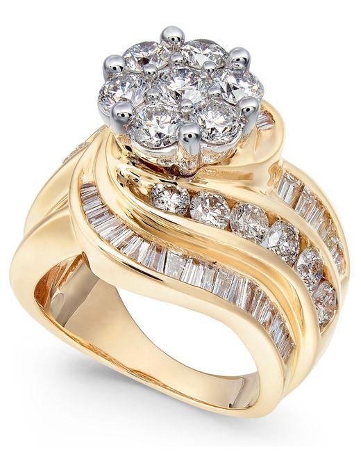 Macy's Metallic Diamond Cluster Swirl Ring (4 Ct. T.w.) In 14k Gold