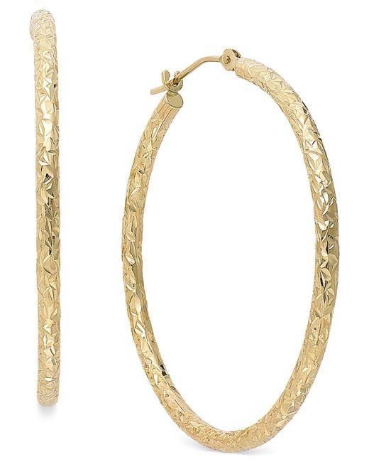 Macy's - Metallic Diamond-cut Hoop Earrings In 14k Gold, 1 1/3 Inch - Lyst