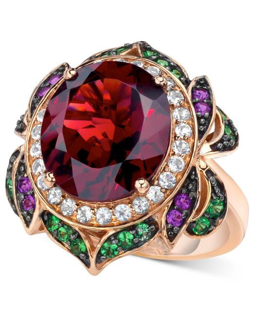 Le Vian - Red Garnet (7-5/8 Ct. T.w.) And Multi-stone Round Flower Ring In 14k Rose Gold - Lyst