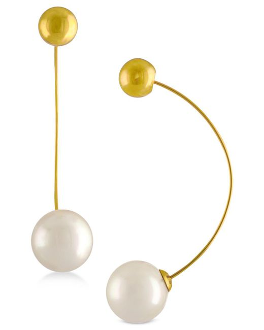 Majorica - Metallic Ball & Imitation Pearl Drop Earrings - Lyst