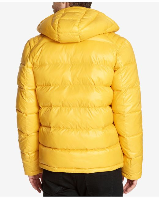 Guess Synthetic Hooded Puffer Coat In Yellow For Men Lyst