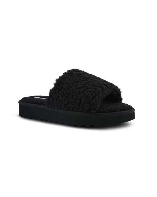 Nine West Black Fuzzie Faux Fur Slides
