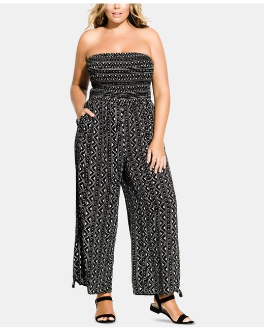 44a66d89b50 City Chic - Black Trendy Plus Size Printed Strapless Jumpsuit - Lyst ...