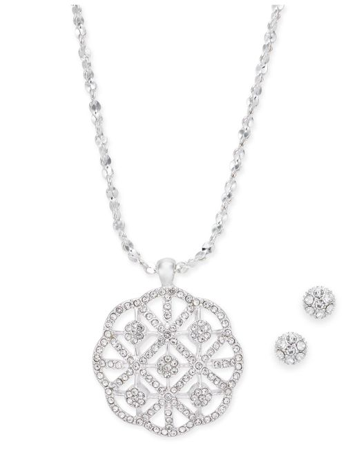 Charter Club - Metallic Silver-tone Crystal Pendant Necklace & Stud Earrings Set - Lyst