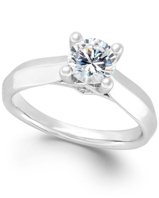 Macy's - Metallic Certified Diamond Solitaire Engagement Ring (1 Ct. T.w.) In 14k White Or Two-tone Gold - Lyst