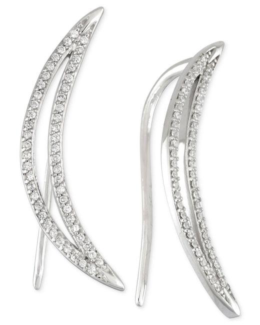 Wrapped in Love - Metallic Diamond Ear Crawlers (1/5 Ct. T.w.) In 14k White Gold - Lyst
