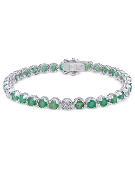 Macy's - Green Emerald (7-1/2 Ct. T.w.) & Diamond (1/3 Ct. T.w.) Tennis Bracelet In Sterling Silver - Lyst