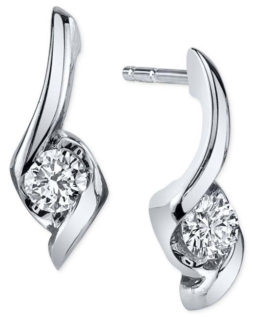 Sirena - Diamond Twist Drop Earrings (1/5 Ct. T.w.) In 14k White Gold - Lyst