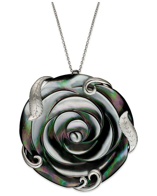 Macy's - Metallic Sterling Silver Necklace, Cultured Tahitian Mother Of Pearl Flower Pendant (50mm) - Lyst