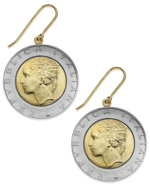 Macy's - Metallic Vermeil And Sterling Silver Lira Coin Drop Earrings - Lyst
