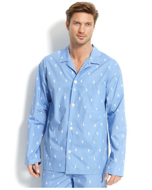 Polo Ralph Lauren - Blue All Over Pony Player Pajama Top for Men - Lyst
