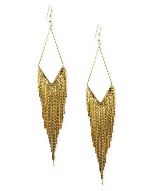 Guess | Metallic Earrings, Gold-tone Kite Gypsy Chain Drop Earrings | Lyst