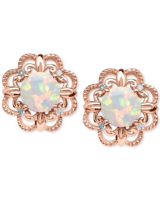 Macy's - Multicolor Opal (5/8 Ct. T.w.) And Diamond Accent Earrings In 14k Rose Gold - Lyst